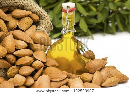 Almonds In A Hessian Sack With Oil
