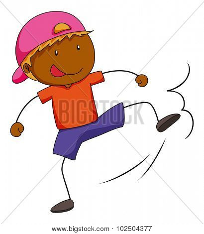 Boy doing kicking action illustration
