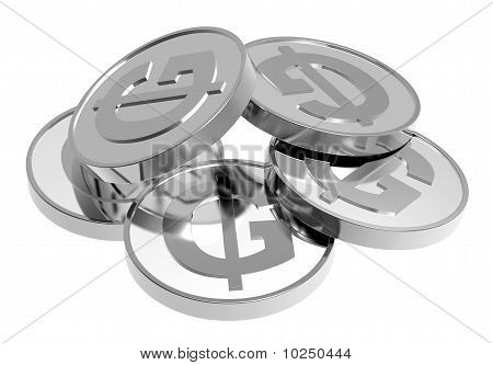 Silver coins isolated on a white background