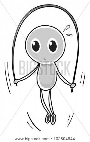 Character skipping rope on white illustration