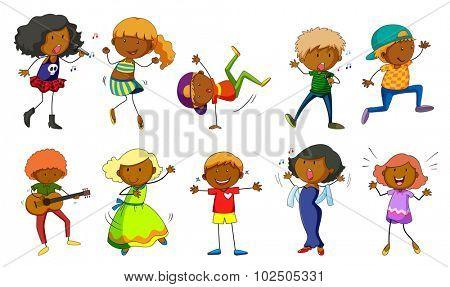 Set of kids singing and dancing illustration
