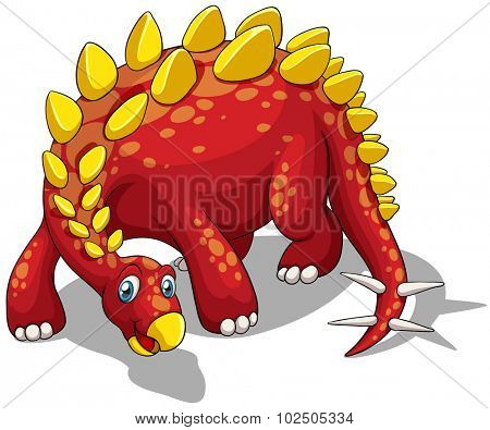 Red dinosaur with yellow spikes on white illustration