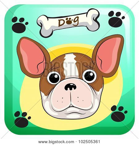 Cute dogwith paws designon background illustration