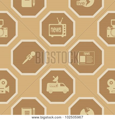 Seamless background with journalism icons