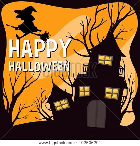 Halloween theme with witch and haunted house illustration