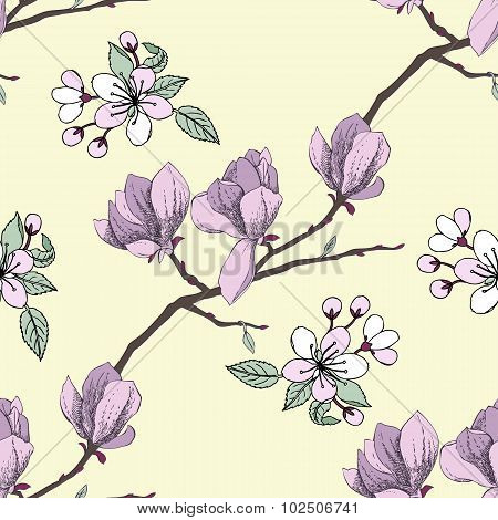 Seamless pattern with apple tree