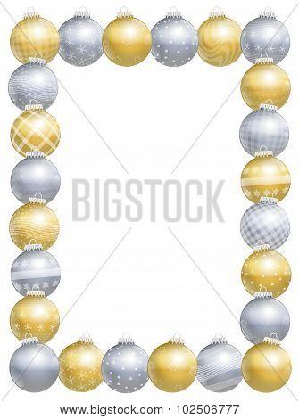 Christmas Balls Frame Gold Silver