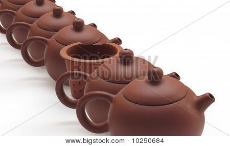 Clay Teapots And Tea Strainer