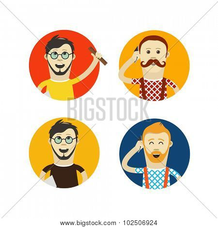 Yound hipsters vector flat design illustration
