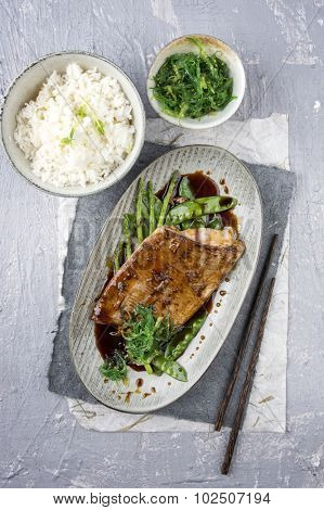 Salmon Teriyaki with Rice and Vegetable