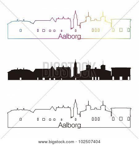 Aalborg Skyline Linear Style With Rainbow