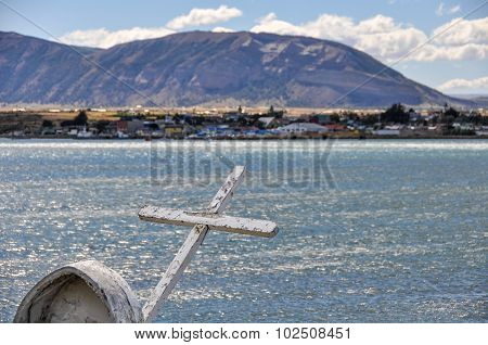 Cross On The Shore, Puerto Natales, Patagonia, Chile