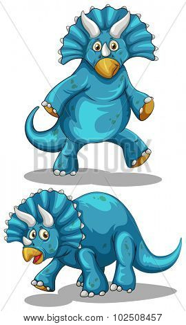 Blue dinosaur with horns illustration