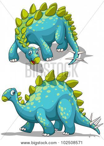 Blue dinosaure with spikes tail illustration