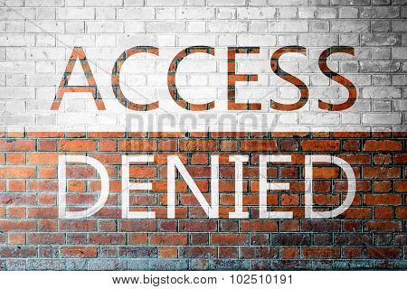 Red Brick Wall Texture With A Word Access Denied