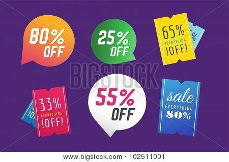 Sale, Off vector tags. Sale vector and Sale label icons. Shop discount sale. Free offer, promotion, promo, market. Sale vector sign. Sale vector icons silhouette. Sale banner, sticker, label, circle