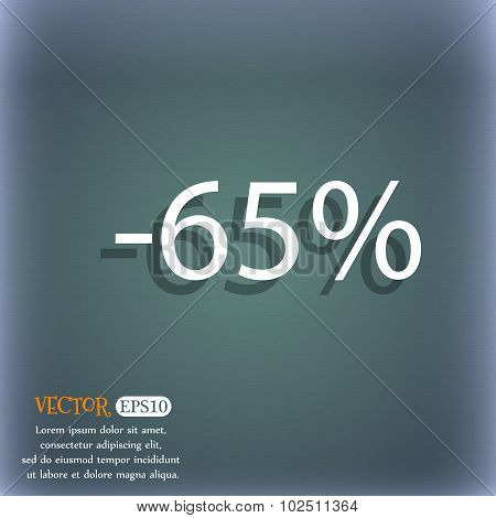 65 Percent Discount Sign Icon. Sale Symbol. Special Offer Label. On The Blue-green Abstract Backgrou