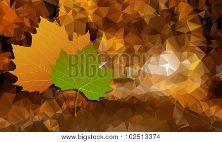 Abstract Background Is Low Poly With Autumn Leaves.vector