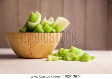 Close up of celery in a bowl on the table