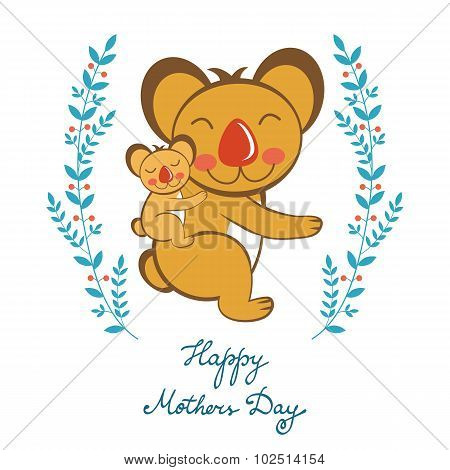 Happy Mothers day card with cute koalas mom and kid