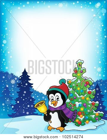 Frame with penguin and Christmas tree - eps10 vector illustration.