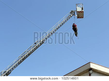 Firefighter Hung The Rope Climbing During The Practical Exercise