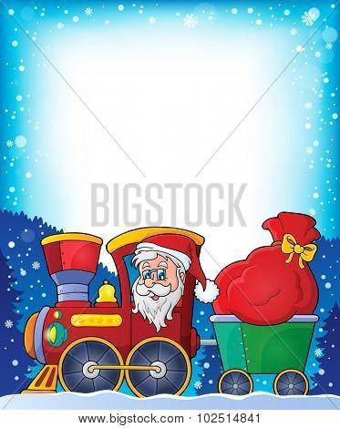 Frame with Christmas train theme 1 - eps10 vector illustration.