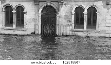 Venice Palaces And Houses During High Tide