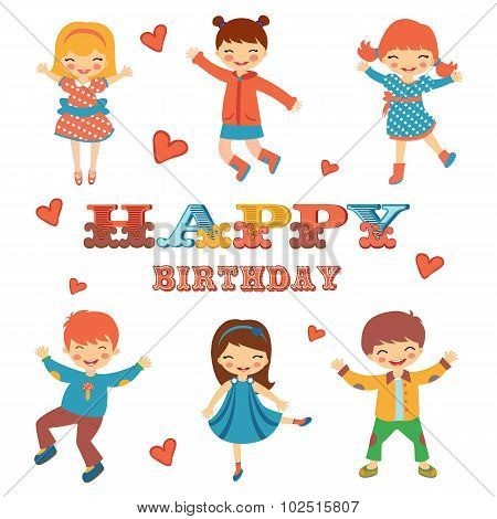 Stylish Happy birthday card with cute kids jumping.