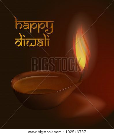Burning Diya On Diwali Holiday Background Vector Illustration With Caption Happy Diwali