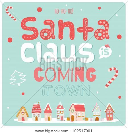 Christmas illustration with Typographic Background
