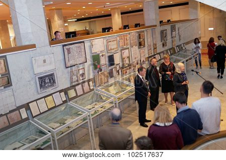 ST. PETERSBURG, RUSSIA - SEPTEMBER 18, 2015: Chief bibliographer of IoH Elena Panchenko delivers opening remarks on the exhibition