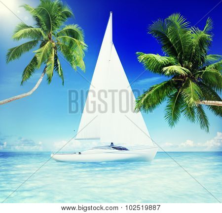 Yacht Sailing Sea Coconut Palm Trees Vacation Concept