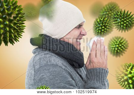 Casual man about to sneeze against orange vignette