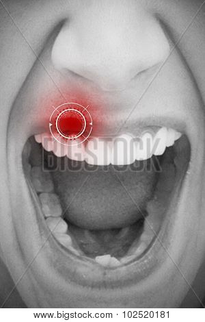 Close up of female mouth shouting against interface
