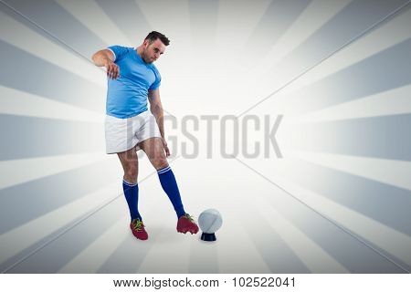 Rugby player ready to kick against linear design