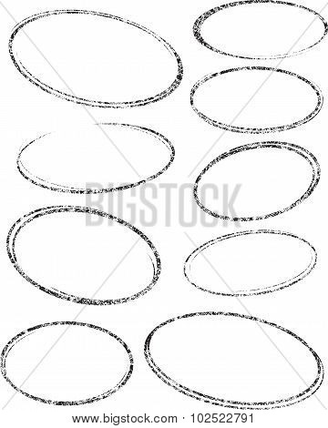 Set Of Nine Oval Grunge Vector Templates For Rubber Stamps