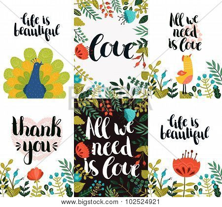 Set of inspirational and romantic cards