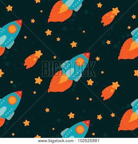 Space background with rockets flying