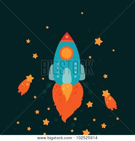 Space rocket flying with stars and comets
