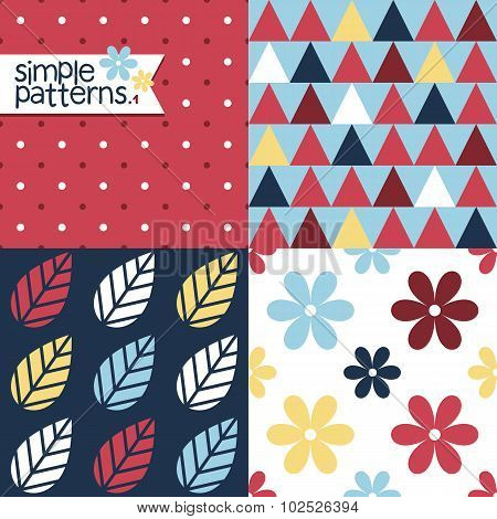 Set Of Four Simple Seamless Patterns