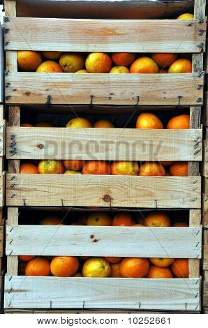 Wooden Crates With Oranges