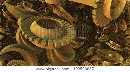 Virtual scene with gears