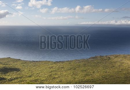 Coastline Landscape With Green Vegetation And Atlantic Ocean In Azores