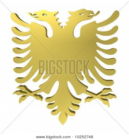 Eagle Sign, with Two Heads, Isolated on White, with Clipping Path