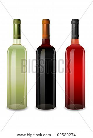 Bottles Of Wine Rosy, Red And White Vector