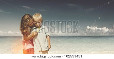 Boy Girl Playful Blowing Bubble Togetherness Concept