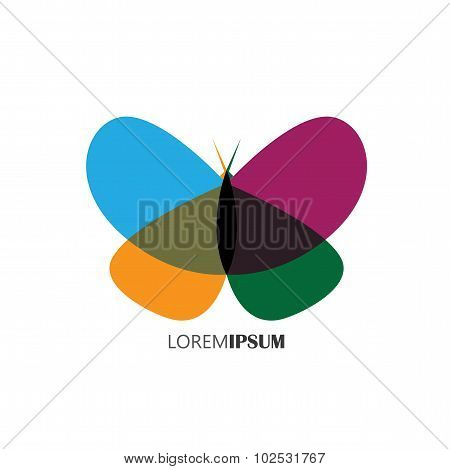 Vector Logo Icon Of Beautiful Butterfly With Colorful Wings