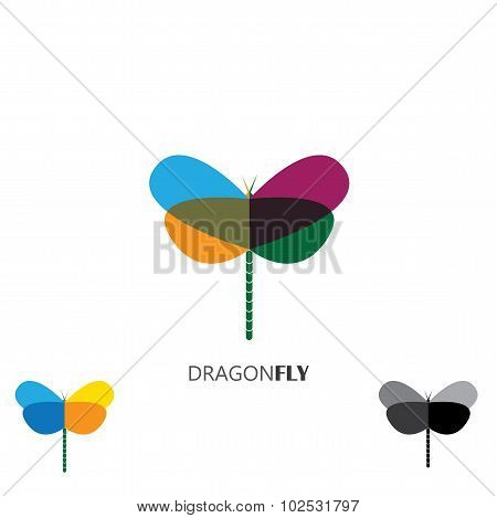 Vector Logo Icon - Colorful Beautiful Dragonflies Set