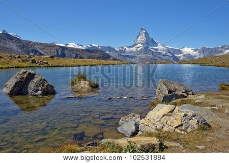 mountain lake in the Swiss Alps